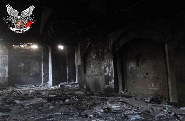 بالصور   التدمير الذي خلفه الإرهابيون في مقام السيدة سكينة في داريا