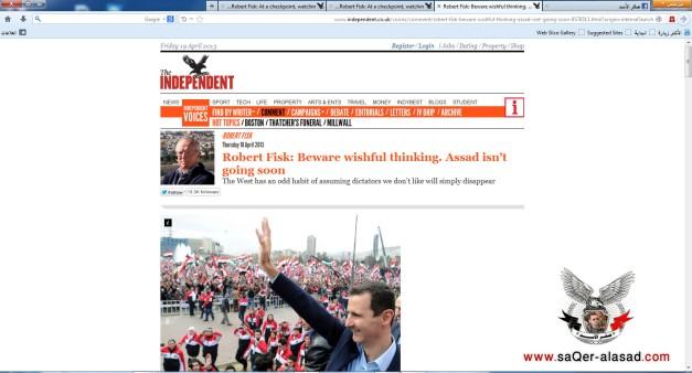 روبيرت فيسك الأسد لن يتنحى قريباً