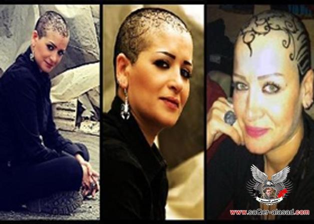 سوزان سكاف تزين رأسها بالرسوم بعد حلق شعرها