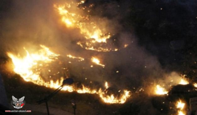 الحريق الذي نشب في ساحة الشهداء